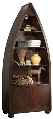 Homelegance 3522-12 Boat Shaped Bookcase with Light, Cherry Finish