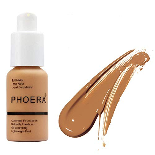 Matte Oil Control Concealer Foundation Cream,PHOERA New 30ml Long Lasting Waterproof Matte Liquid Foundation (106 Warm Sun)
