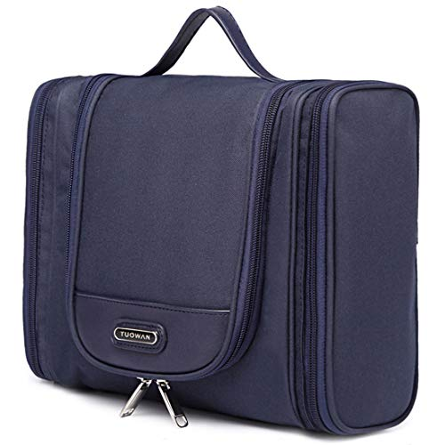 Hanging Toiletry Bag Portable Travel Organizer Makeup Cosmetic for Women Men (2 Side Pockets Blue)