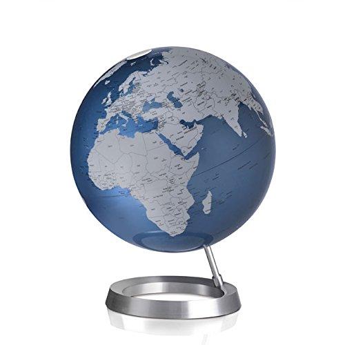 Globe terrestre design bleu argent sur socle alu Atmosphere 0331F5VMIN0110L1