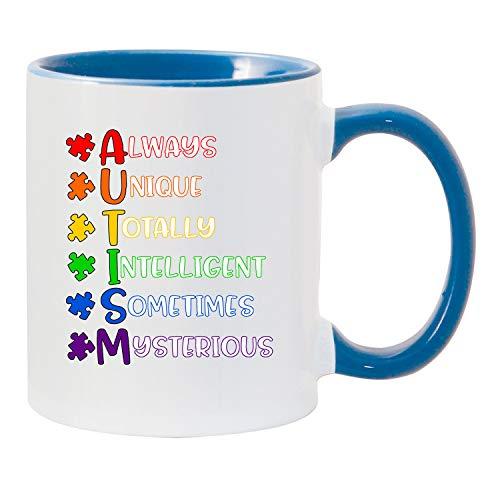 Shop4Ever Autism Definition Ceramic Blue Colored Handle Coffee Mug Autism Awareness Gift (Autism ()