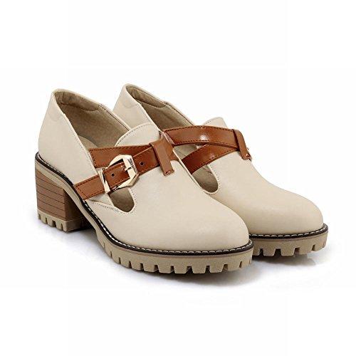 Fashion Carolbar Mid Shoes Buckle Heel Beige Casual Retro Women's fwq7WqCE