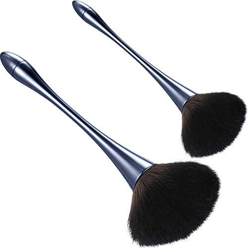 2 Pieces Large Mineral Powder Brush Nail Brushes Kabuki Makeup Brushes Soft Fluffy Foundation Brush Blush Brush for Large Coverage Loose Powder Bronzer Blush Blending Buffing (Blue)