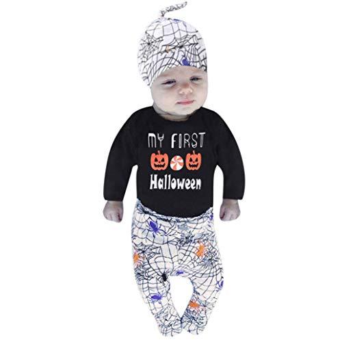 2018 Halloween Party Costumes Sets Newborn Baby Pumpkin Letter Romper Tops Spider Print Pants Cap My First Halloween (Black, 6-12 Months)