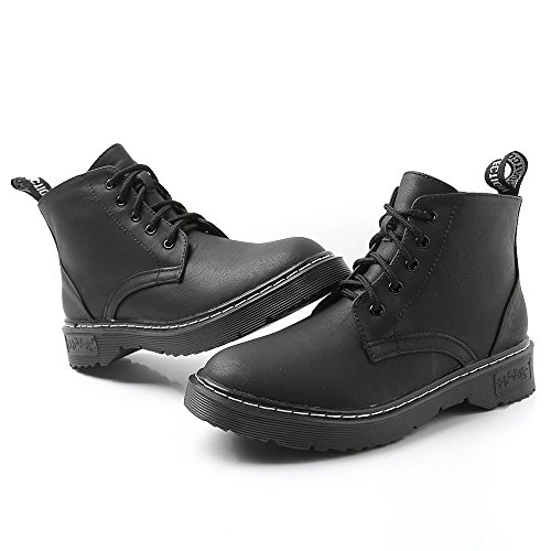 Meeshine Damesmode Leren Enkellaarsjes Casual Veter Korte Laarzen Voor De Winter Zwart