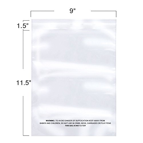 The Elixir Packaging 100 Count 9 x 11.5 Suffocation Warning Clear Reclosable Poly Bag, Meets USDA FDA Standards, Various Size