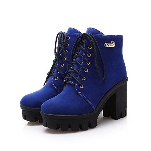 Metall Wildleder imitiert Formal Style European Mädchen Blau Ornament AdeeSu Stiefel SqPT5T