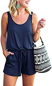 Edjude Womens Sleeveless Jumpsuit Lasies Scoop/V Neck Rompers Casual Loose Short Rompers with Pockets