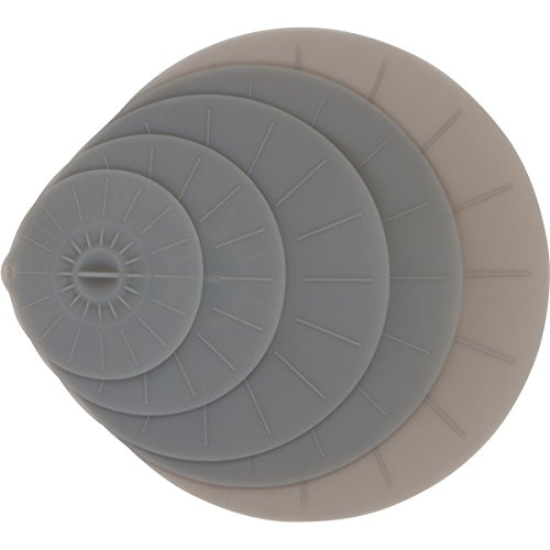 Gray Silicone Lid Covers Set - 5 Reusable Flat Covers For Food, Bowls, Pans, Cups, Pots, Microwave – Includes large almost 14"