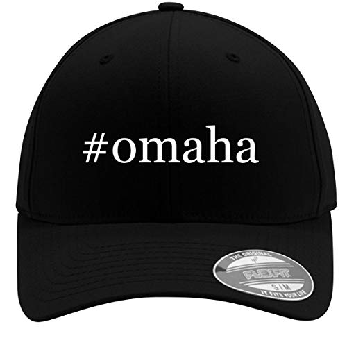 #Omaha - Adult Men's Hashtag Flexfit Baseball Hat Cap, Black, Small/Medium