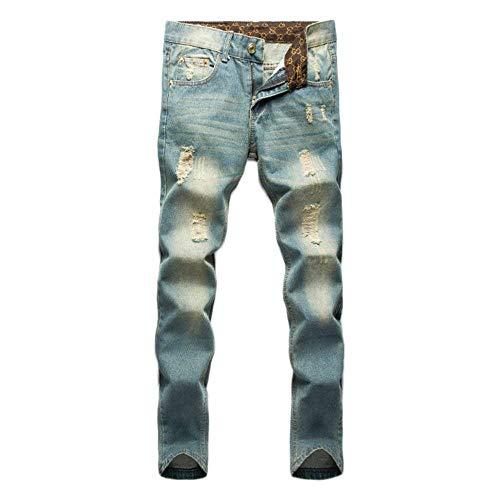 Pierna Recta Jeans Delgado Tendencia Moda De Skinny La Casual Pantalones con Agujeros De Chern Tiempos De Lavado Cintura Regulares Pantalones Deportivos Pantalones Profesionales Culotte BOD 1