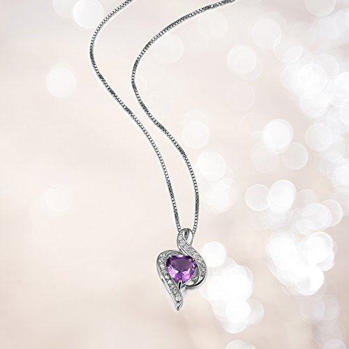 Sterling Silver Genuine African Amethyst and White Topaz Wrapped Heart Pendant Necklace, 18
