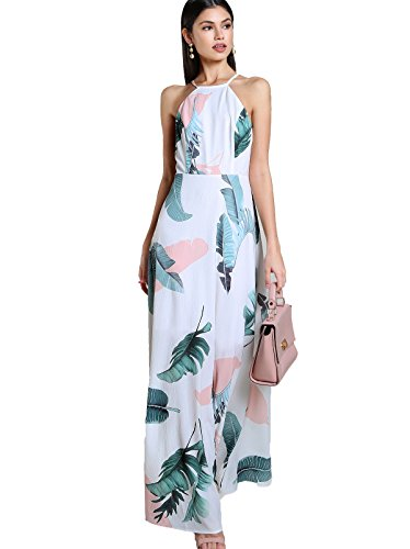 - Floerns Women's Sleeveless Halter Neck Vintage Floral Print Maxi Dress X-Small Multicolor-White