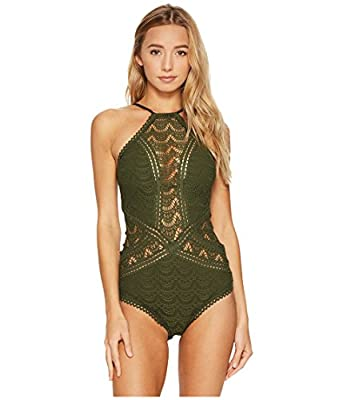 Becca by Rebecca Virtue Womens Color Play High Neck One-Piece Bay Leaf LG