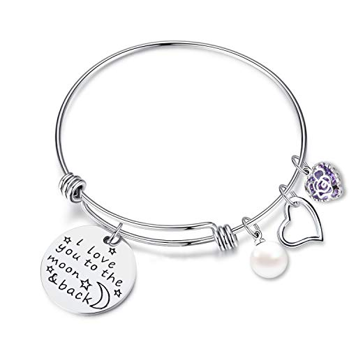 (EGOO YAMEE Charm Bracelet Adjustable I Love You to The Moon and Back Bangle Bracelet(Silver))