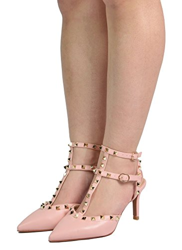 DREAM PAIRS Women's Rockstar_Low Pink Pu Fashion Stilettos Pointed Toe Pump Shoes Size 10 B(M) US - Pink Ankle Strap Shoes