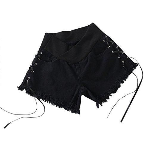 soutien Noir Denim Meijunter Shorts ventre lastique Mode Style13 Jeans Maternit Femme de PPwT8xqt1