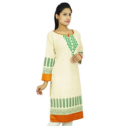 Bollywood Kurta Diseñador India étnicas Kurti Khadi regalo vestido de la tapa del algodón de la túnica para ella De blanco y amarillo ocre