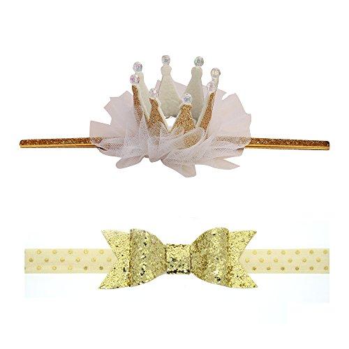 Princess Tiara With Bows (JIMUKEE Baby Girl Birthday Crystal Glitter Crown Bow Headbands Princess Shiny Tiara Hair Accessories With Gift Box Gold)