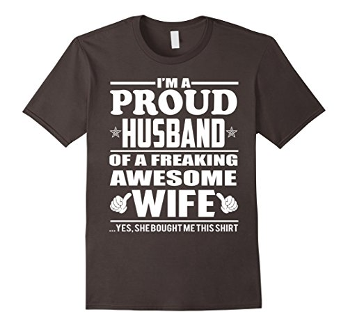 Men's Proud Husband of Awesome Wife - Couple Gift Shirt M...