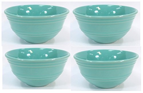 Set of 4 Mainstays Aqua Rain Forest Small Ceramic Fruit or Dessert Bowls 4.25 (Blue Fruit Dessert Bowl)