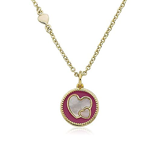 LMTS Little Miss Flower Girl 14K Gold Plated Hot Pink Enamel Heart Cut Out Over Mother of Pearl Pendant Necklace/ Brass 14