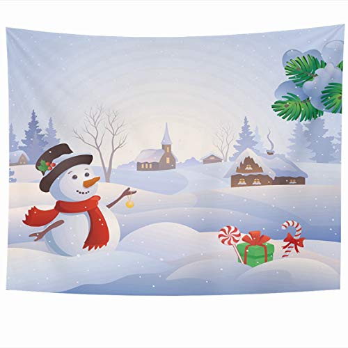 x 60 Inches Graphic Blue Winter Cute Snowman at Snowy Village Snow Wonderland Scenery Christmas Design Home Decor Wall Hanging Tapestries for Living Room Bedroom Dorm ()