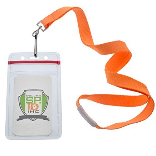 12 Lanyards - 12 Pack - Premium Bright Neon Lanyards with Breakaway Clasp & Heavy Duty Ziplock Badge Holder by Specialist ID (Vertical, Orange)