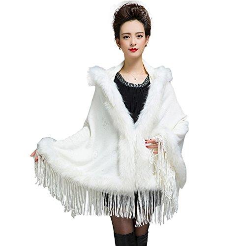Caracilia Women Bridal Hoodie Faux Fur Shawl Wraps Cloak Coat White CA86