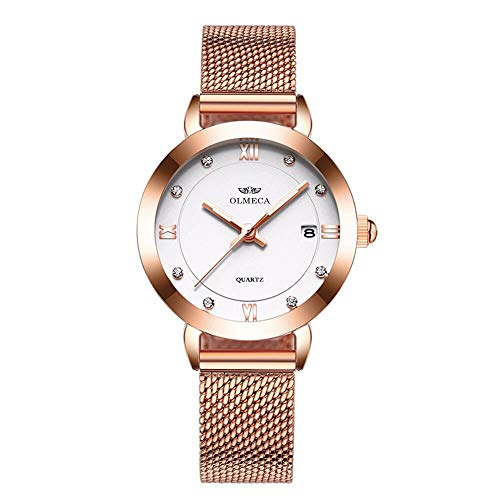 Metal Mesh Strap - Luxury Rose Gold Metal Mesh Strap Analog Quartz Business Watch Auto Date Calendar Dress Watch Waterproof Rhinestone Accented Dial Wristwatch for Women