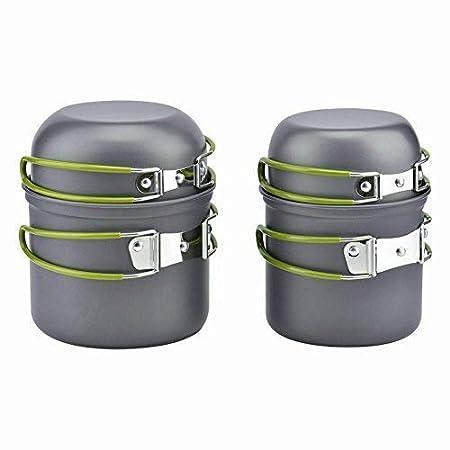 Ecent 4pics kit de utensilios de cocina vajilla ollas para camping senderismo excursi/ón al aire libre de aluminio