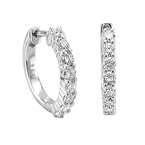 14k White Gold 8 Stone Hoop Diamond Earrings (0.49 - Hoop Gold White Diamond 14k