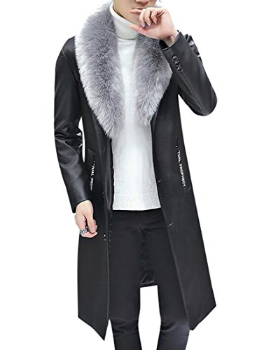 Oberora-Men Slim Faux Fur Collar Long Pu Leather Trench Coat Jacket Outwear Black ()