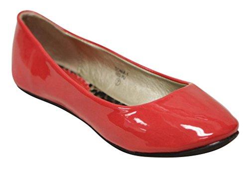 Anna Sonia-1 Womens Ballerina Flat Båt Slip-on Godis Ljusa Färger Tillfällig Flat Red
