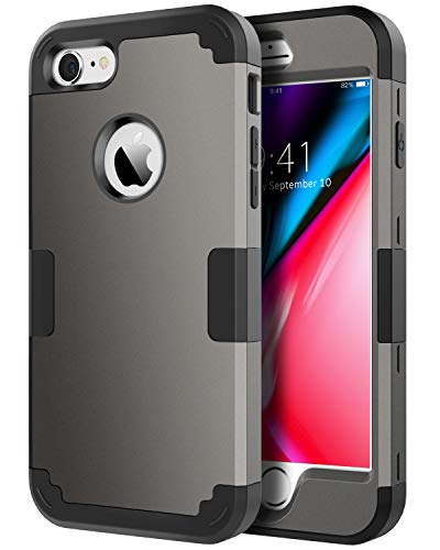 BENTOBEN Case for iPhone 8, iPhone 7 Case, 3 in 1 Hybrid Case Shockproof Bumper Slim Hard PC Cover Soft Silicone Rubber Interior Full Body Rugged Protective Phone Cover for iPhone 7/iPhone 8, Gunmetal