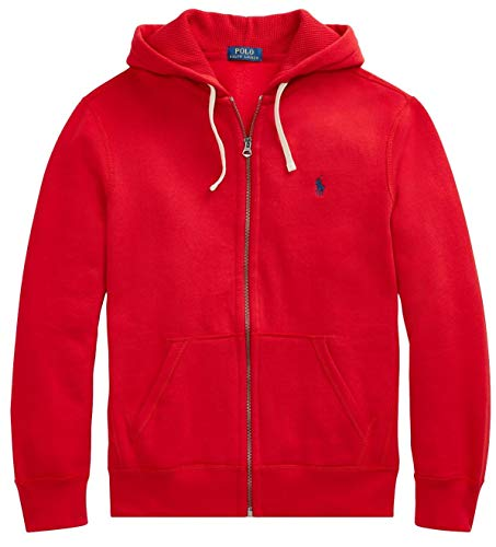 Polo Ralph Lauren Classic Full-Zip Fleece Hooded Sweatshirt - XL - Holiday Red ()