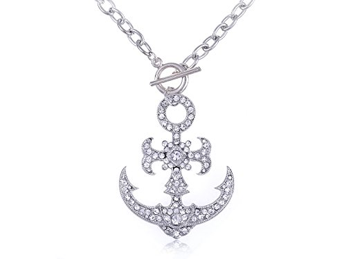 (Alilang Ice Clear Crystal Rhinestone Nautical Sailor Navy Boat Anchor Pendant Necklace)