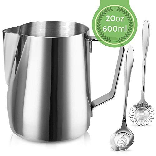 Milk Frothing Pitcher Jug - 20oz/600ML Stainless Steel Coffee Tools Cup - Suitable for Espresso, Latte Art and Frothing Milk, Attached Dessert Coffee Spoons ()