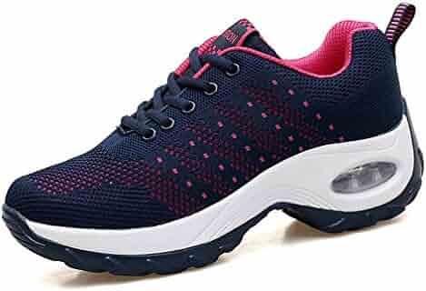 d0570c9d4 SOMESUN Womens Running Shoes Girls Fashion Flock Breathable Mesh Sport  Elastic Walking Casual Sneaker Clothing, ...