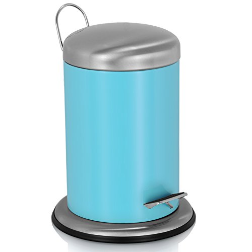 Step Automatic Outdoor Large Stainless Steel Trash Can with Lid for Kitchen Bathroom Office Patio, Wastebasket Garbage Can