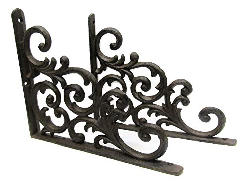 Cast Iron Shelf Brackets Braces 9.25 x 7.5 Inch Rustic Antique Scroll Style Set of 2
