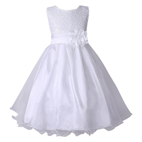 Hiheart Girls Sequin Flower Princess Ball Gown Wedding Party Dress White 7 - Girls Lilac Flower Girl