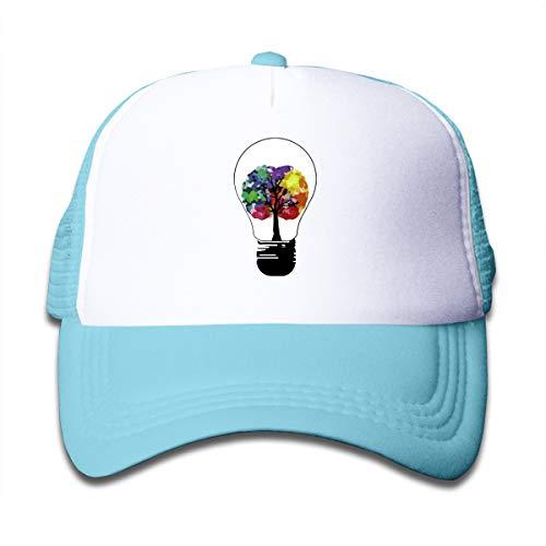 (Kid's Creative Mind Trucker Baseball Cap Adjustable Mesh Hat Girl Boy Sky)