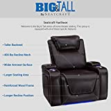 Seatcraft Pantheon Big & Tall 400 lbs Capacity Home Theater Seating Leather Power Recline with Adjustable Powered Headrest and Lumbar Support, SoundShaker, and Lighted Cup Holders
