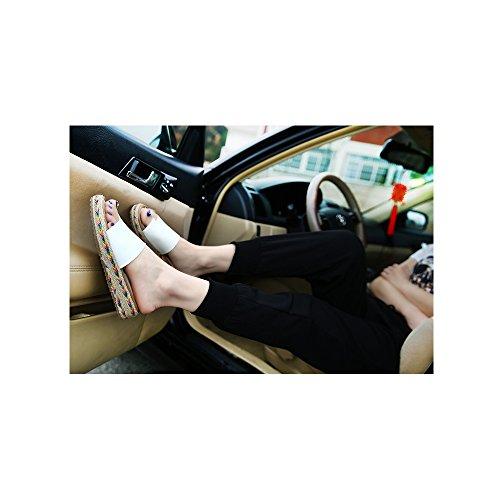 Calzado de mujer, Zapatos de la playa de Bohemia dulce de abalorios sandalias del pie del clip #06Blanco