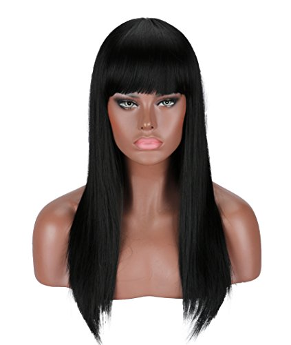 Kalyss Black Wig Approx 22 inches Full Long Straight Hair Wig for Women Heat Resistant Yaki Synthetic Hair Women's Wig With Hair Bangs (Black #2)