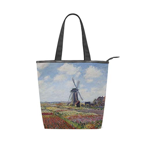 (AHOMY Women Handbag Fields Of Tulip With Rijnsburg Windmill Monet Tote Bag Top Handle PU Leather Shoulder Purse)