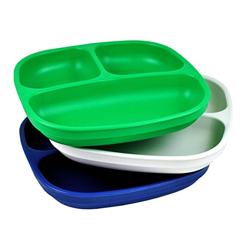 Re-Play Made in USA 3pk Divided Plates with Deep Sides for Easy Baby, Toddler, Child Feeding - Kelly Green, White & Navy (Nautical)