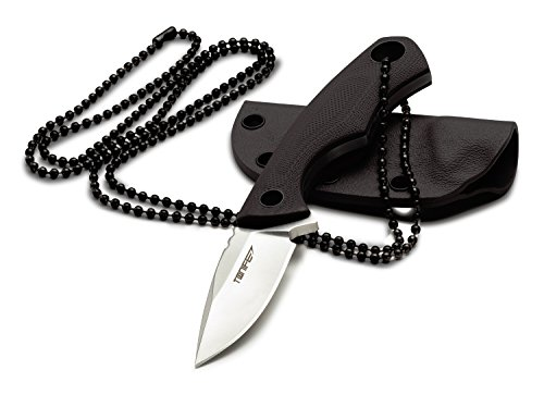 Tonife Fixed Blade Neck Knife Full Tang 4-5/8 Inch Overall with Kydex Sheath and Ball Chain (Black)