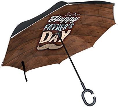 Alaza Double Layer Inverted傘Cars逆傘Happy父の日口ひげレトロ防風UVプルーフ旅行アウトドア傘